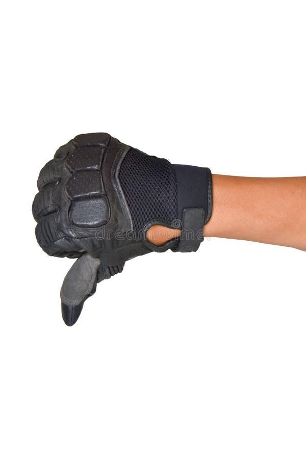 Motorcykelhandske och inte bra handsignal arkivfoton