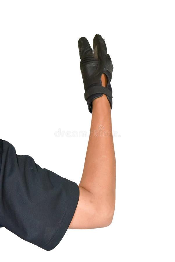 Motorcykelhandsken och handsignalen går framåt royaltyfria bilder