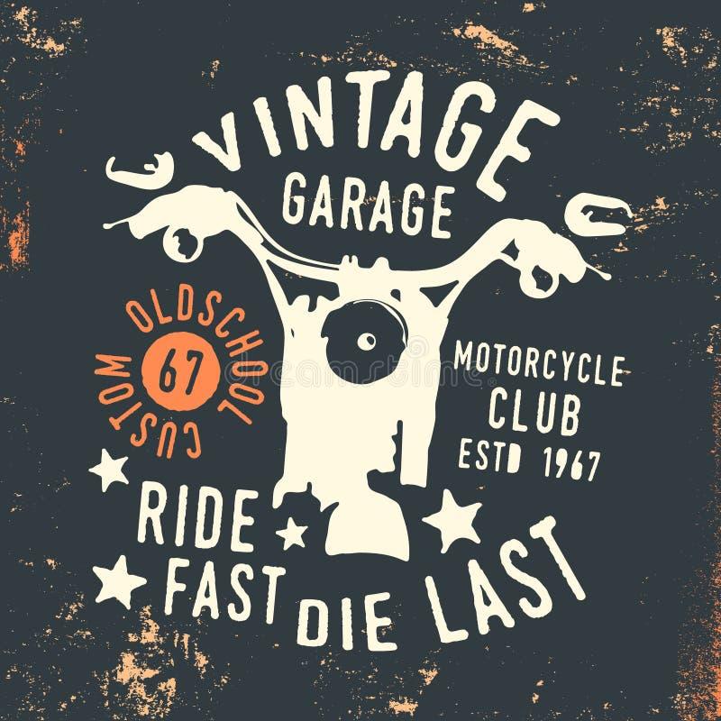 Motorcykelklubba - stämpel för tryck för skjorta för tappninggarage t stock illustrationer