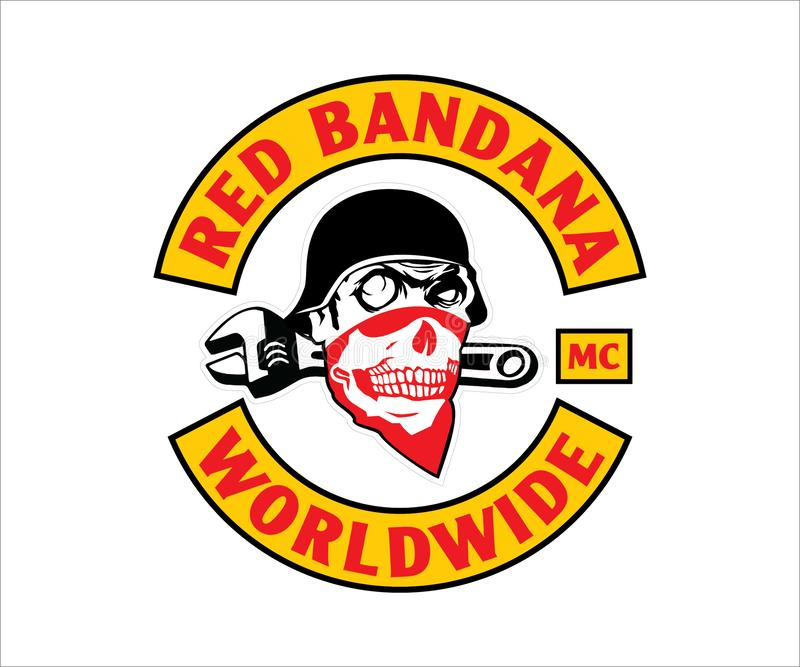 Motorcykelklubbalogo, emblem, symbol, klistermärke arkivbild