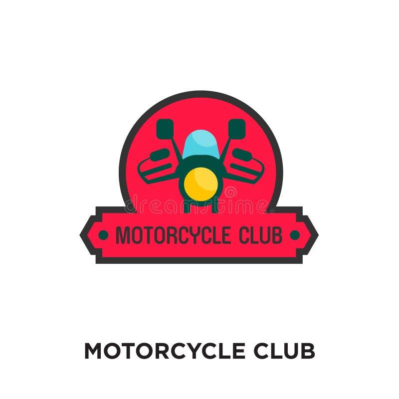 motorcykelklubbalogo som isoleras på vit bakgrund för din rengöringsduk royaltyfri illustrationer