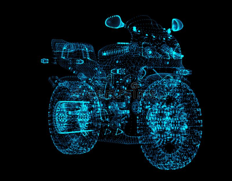 Motorcykeln består av punkter Partiklar i form av en motorcykel på en mörk bakgrund Grafiskt begrepp stock illustrationer