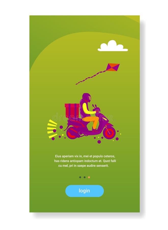 Motorcykeln för sparkcykeln för ritten för leveransmannen levererar utrymme för kopian för servicebegreppet plant vertikalt royaltyfri illustrationer