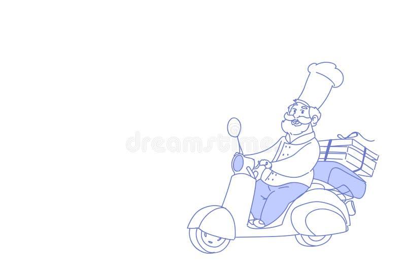 Motorcykeln för tappning för begreppet för leveransen för snabbmat för pizza för sparkcykeln för kockkockridningen skissar den el vektor illustrationer