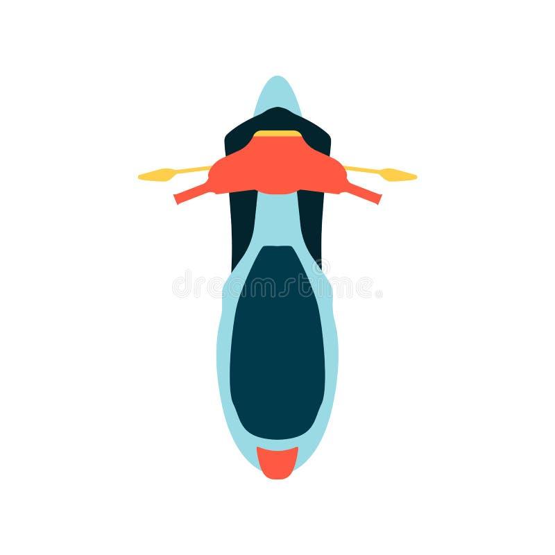 Motorcykeln med illustration för vektor för vindruta- och överkantviewn en plan isolerade vektor illustrationer