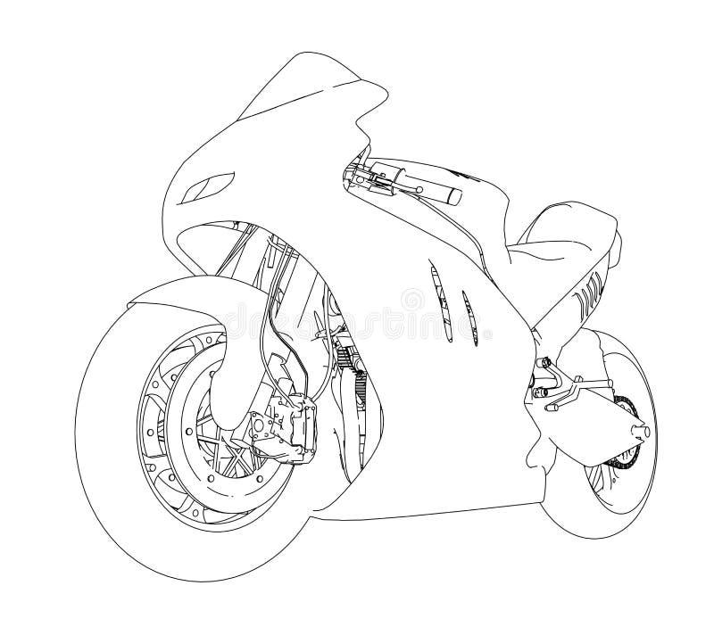 Motorcykeln skissar illustration 3d royaltyfri illustrationer