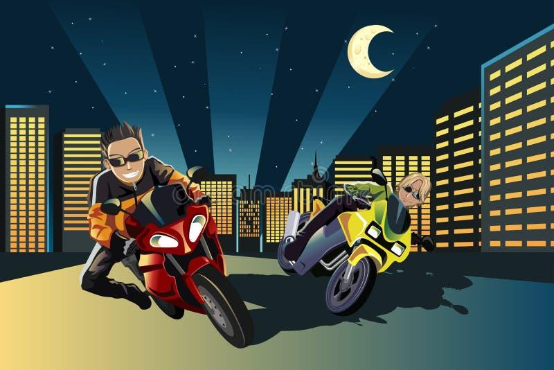 motorcykelracers stock illustrationer
