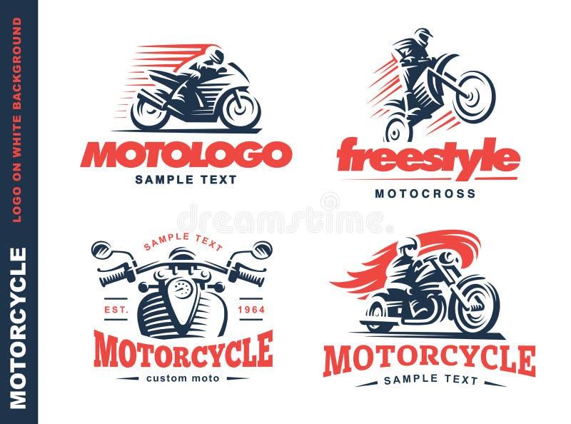 Motorcykelsköldemblem, logodesign vektor illustrationer