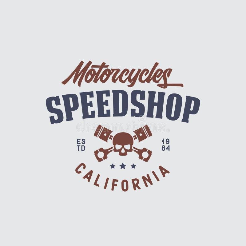 Motorcykelspeedshopt-skjorta design Vektortappningillustration royaltyfri illustrationer