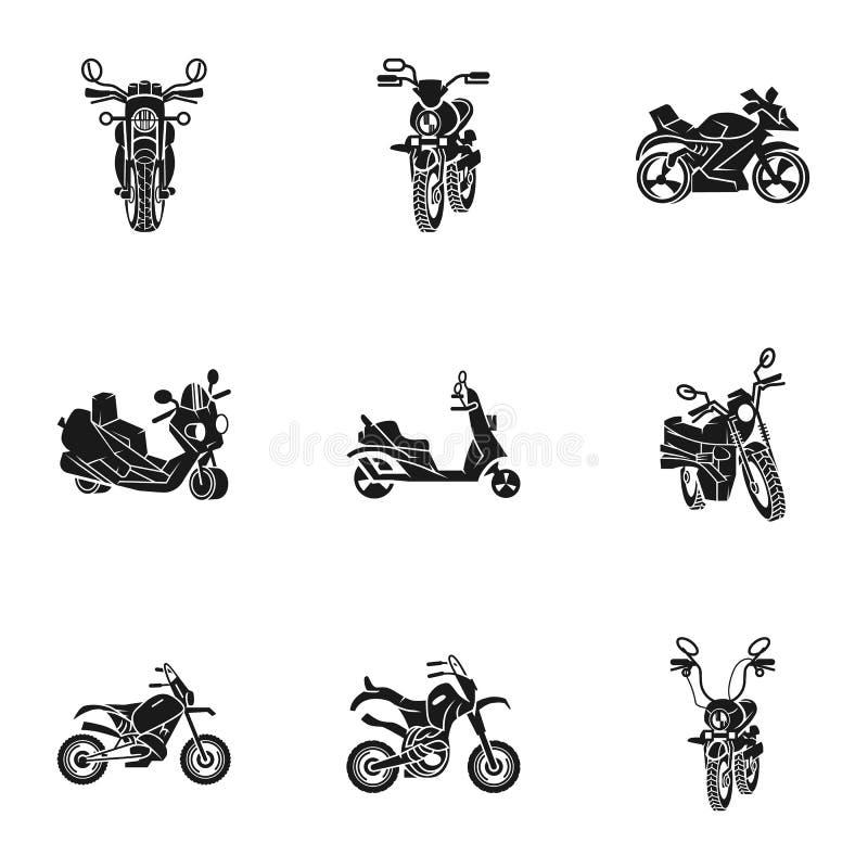 Motorcykelsymbolsuppsättning, enkel stil royaltyfri illustrationer
