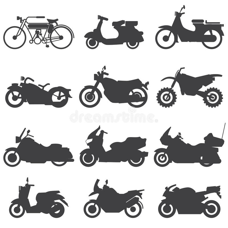 Motorcykelsymbolsuppsättning också vektor för coreldrawillustration stock illustrationer