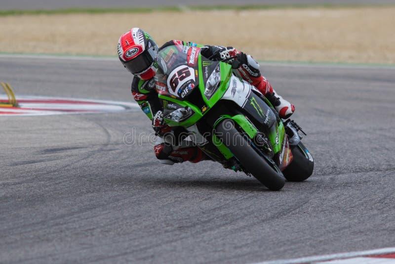 Motorcykeltävlingsförare Jonathan Rea fotografering för bildbyråer