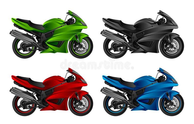 Motorcykeluppsättning vektor illustrationer