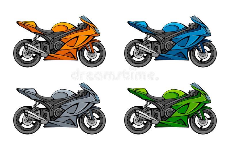 Motorcykeluppsättning stock illustrationer