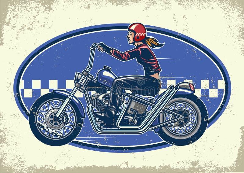 Motorcyklar för avbrytare för damcyklistritt med tappningtextur vektor illustrationer