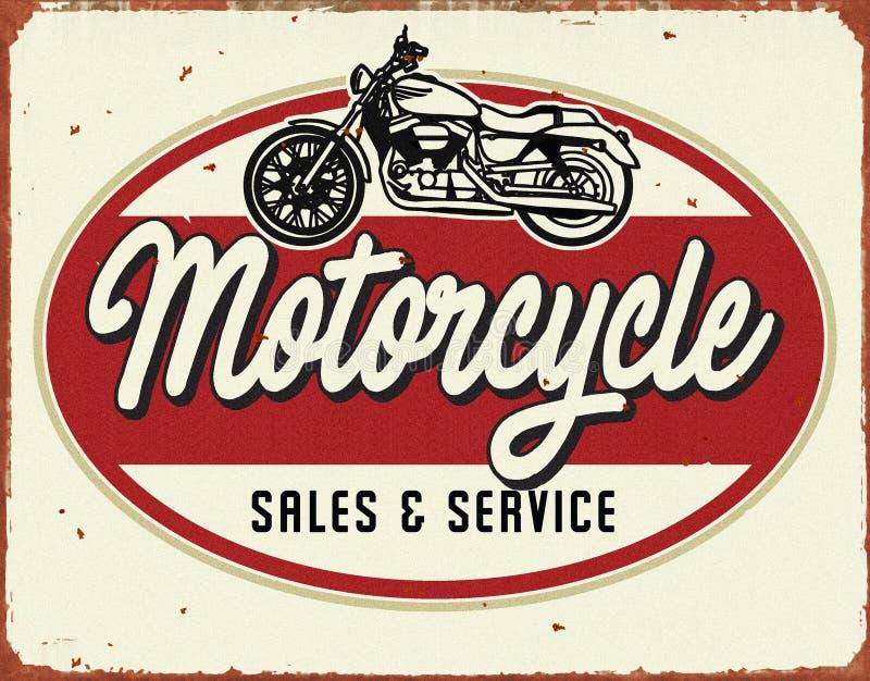 Motorcyle服务修理葡萄酒罐子标志销售服务 向量例证