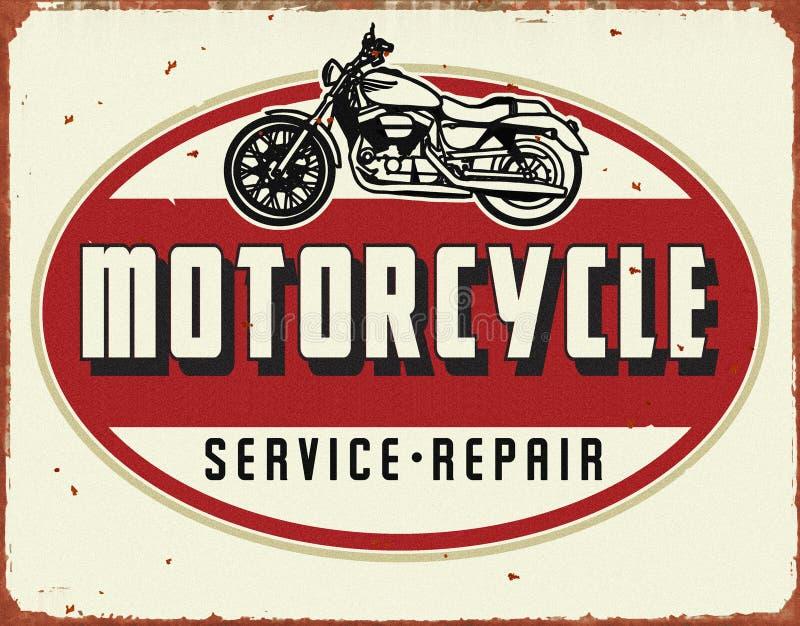 Motorcyle服务修理葡萄酒罐子标志 库存图片