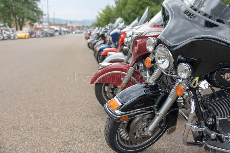 Motorcyles line Main Street in Sturgis, South Dakota for as far as the eye can see. AUGUST 5, 2018, STURGIS, SD: 500,000 bikers bring their motorcycles to royalty free stock photography