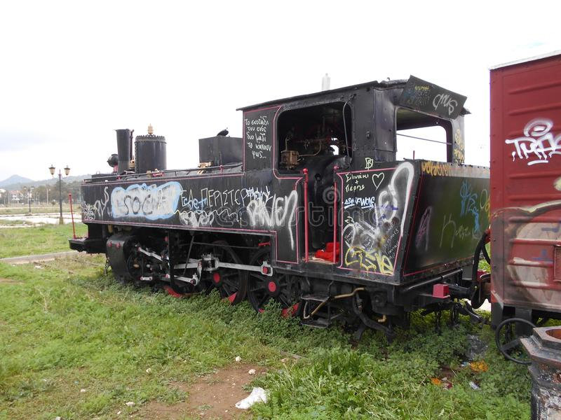 Motore abbandonato del treno immagini stock
