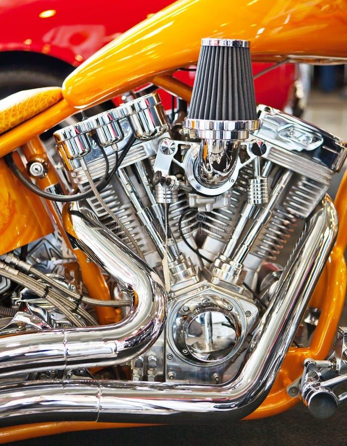 Motore cromato della motocicletta fotografia stock libera da diritti