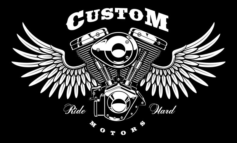 Motore d'annata del motociclo con le ali su fondo scuro illustrazione vettoriale