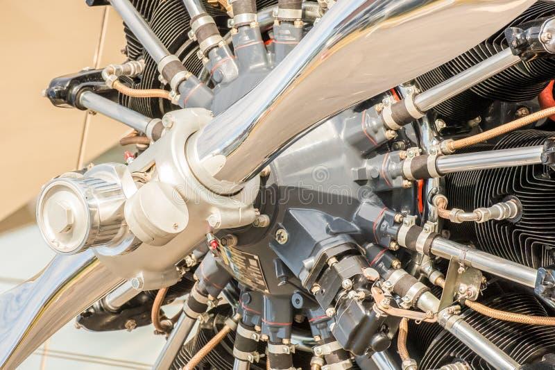 Motore d'annata dell'elica d'aereo fotografia stock libera da diritti