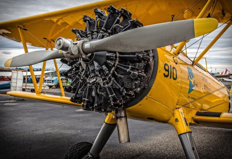 Motore del biplano fotografia stock