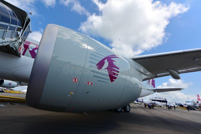 Motore del Qatar Airbus A350-900 XWB Rolls Royce Trent XWB a Singapore Airshow immagine stock libera da diritti