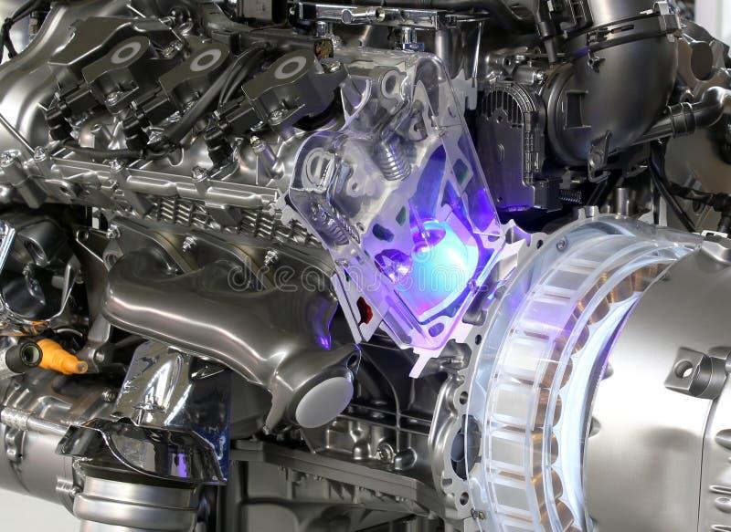 Motore dell'ibrido dell'automobile fotografia stock libera da diritti