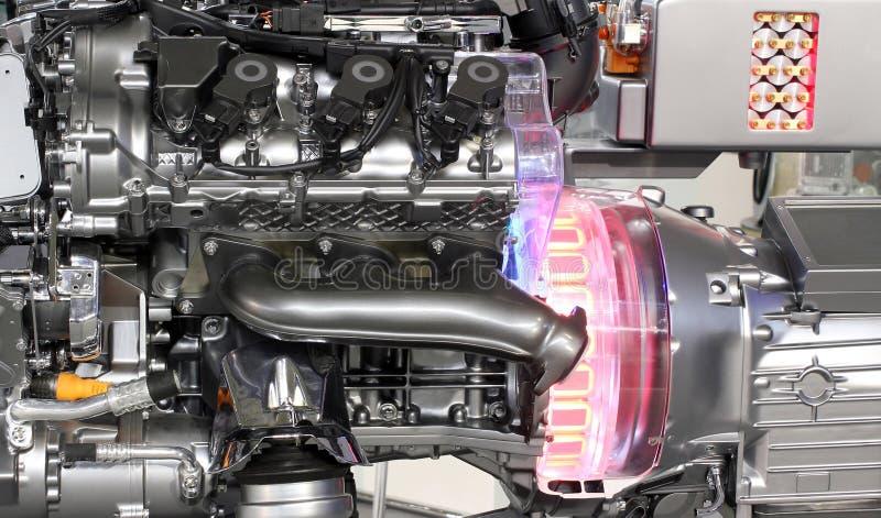 Motore dell'ibrido dell'automobile V6 fotografia stock libera da diritti