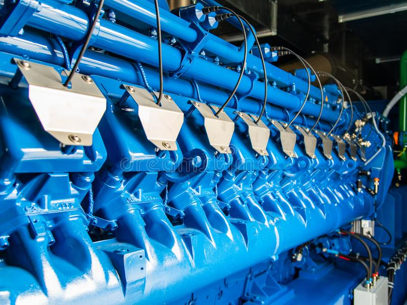 Motore dell'unità di CHP Generatore elettrico di industriale del gas e del diesel fotografia stock libera da diritti