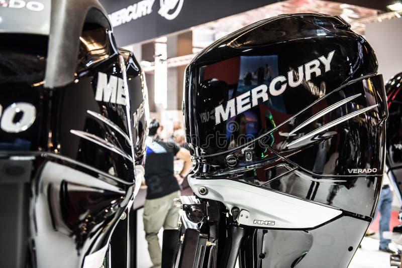 Motore della barca di velocità di Mercury immagine stock libera da diritti
