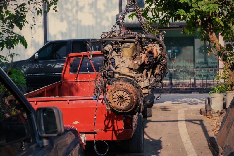 Motore di auto usata o vecchio fotografia stock
