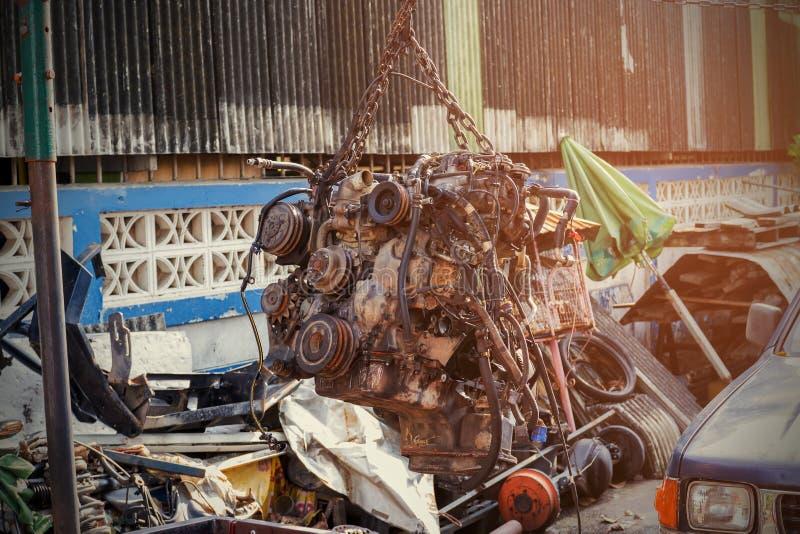 Motore di auto usata o vecchio fotografia stock libera da diritti