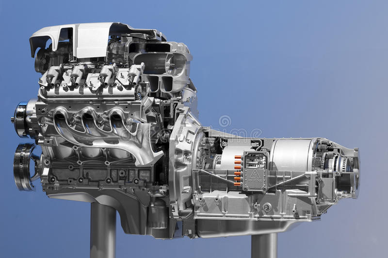Motore di automobile ibrido immagini stock libere da diritti
