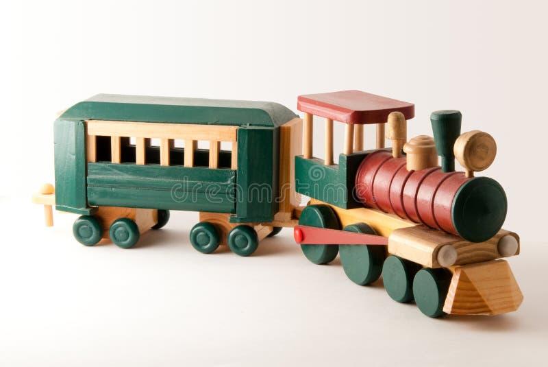 Motore di legno del treno del giocattolo fotografie stock