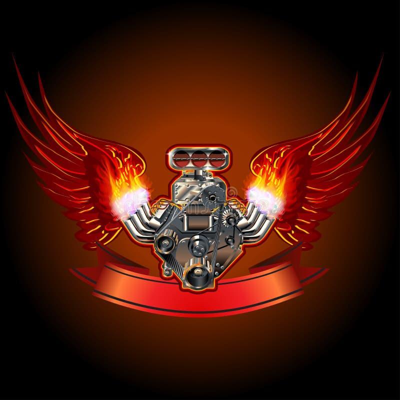 Motore di Turbo con le ali illustrazione di stock