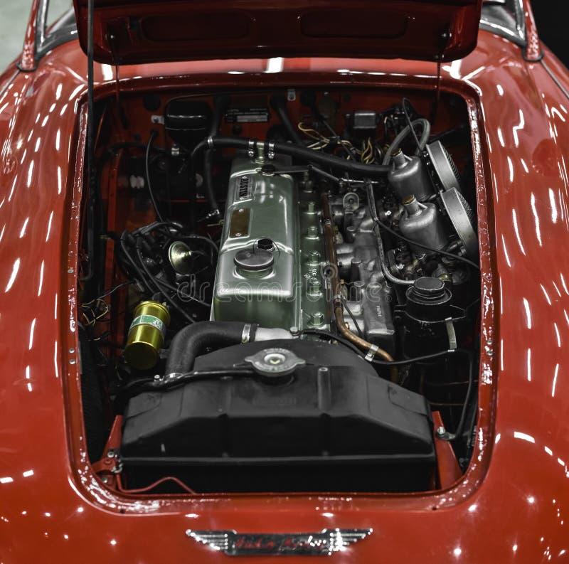 Motore di vecchia automobile di Austin Healey 100F fotografie stock libere da diritti