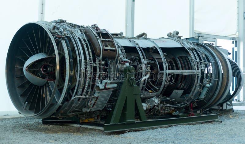 Motore di vecchio aeroplano nel museo di aviazione fotografia stock