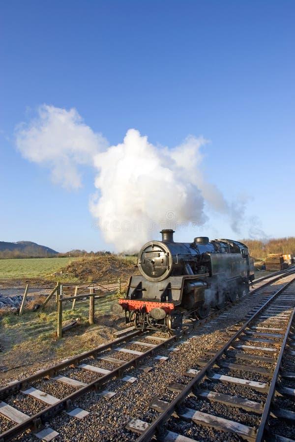 Motore di vecchio treno del vapore al castello in Wareham, Dorset di Swanage fotografia stock libera da diritti