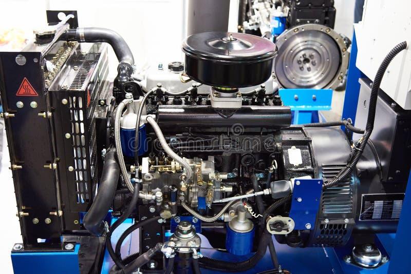 Motore diesel con il generatore sincrono fotografia stock