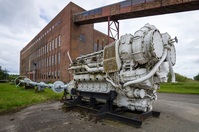 Motore diesel della vecchia nave Territorio del centro di ricerca dell'esercito fotografia stock libera da diritti