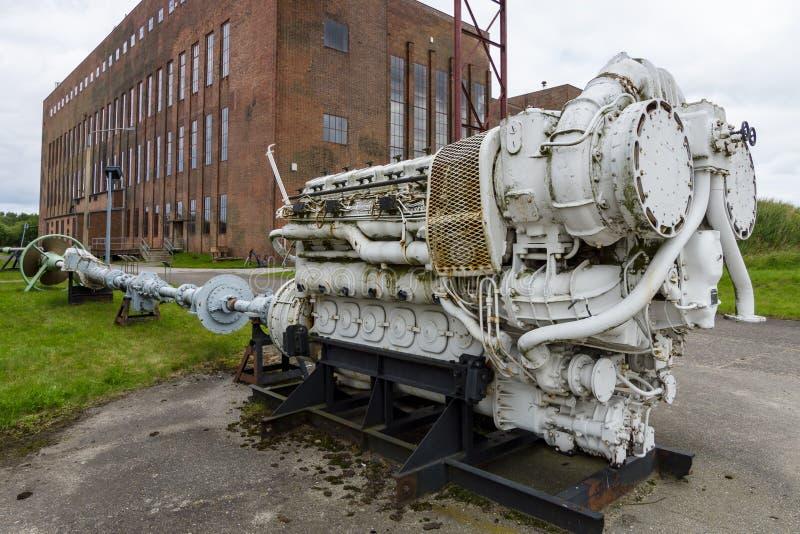 Motore diesel della vecchia nave Territorio del centro di ricerca dell'esercito fotografie stock libere da diritti