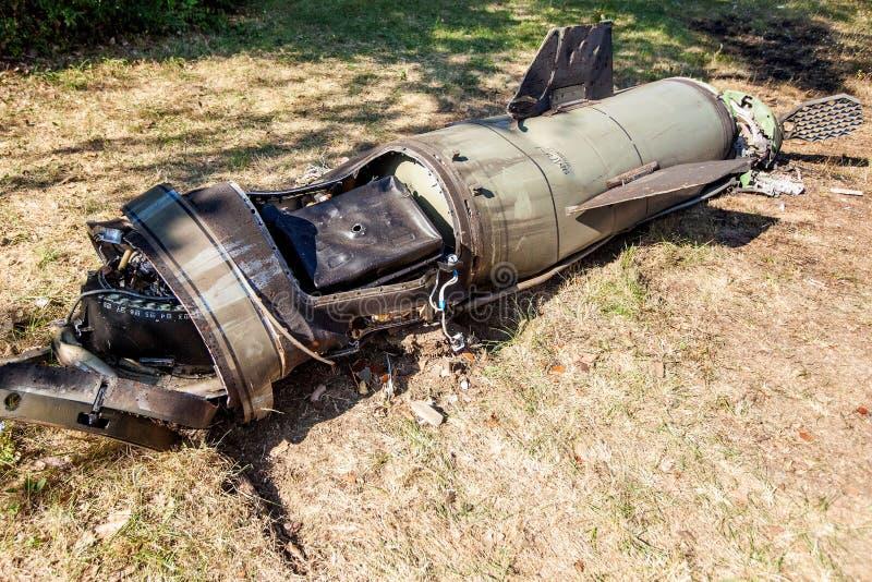 Motore e riempimento elettronico del conflitto di Donbass e dell'Ucraina di guerra, è caduto dopo che del missile balistico fotografia stock libera da diritti