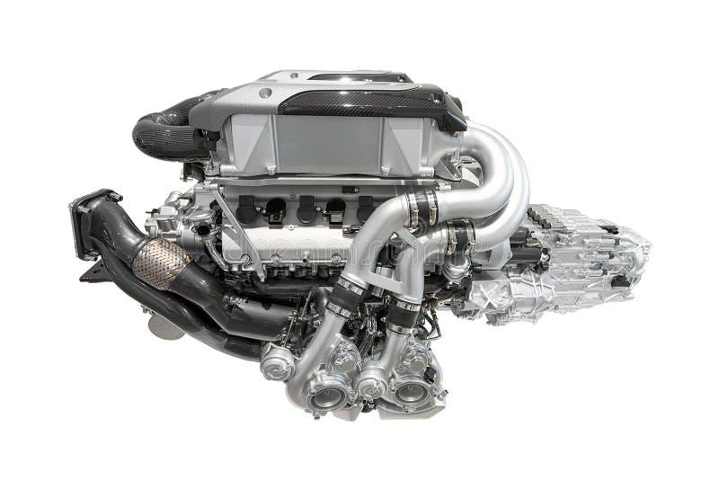 Motore eccellente moderno dell'automobile sportiva - cilindro 16 - isolato su fondo bianco, senza ombra fotografia stock