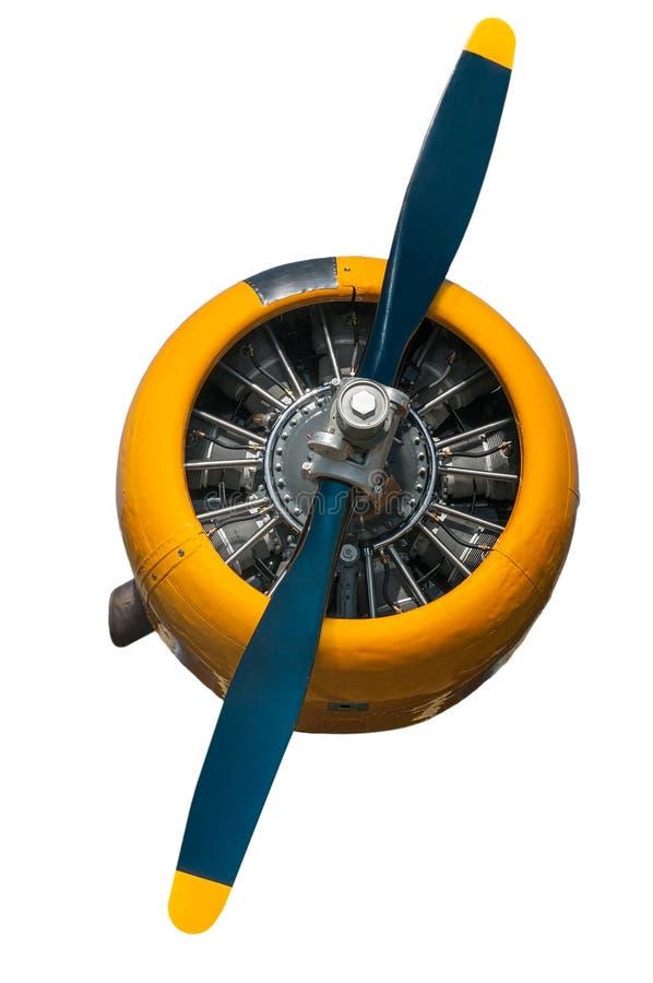 Motore AT-6 ed elica texani gialli e blu immagine stock libera da diritti
