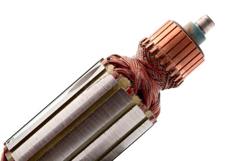 Motore elettrico della parte interna delle bobine del rame fotografie stock