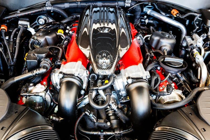 3 motore gemellato di turbo V8 da 8 litri di Maserati Levante Maserati è una divisione di lusso dell'automobile di Fiat Chrysler  fotografia stock