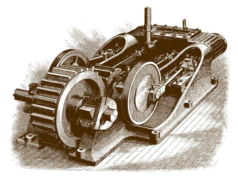 Motore gemellato storico royalty illustrazione gratis