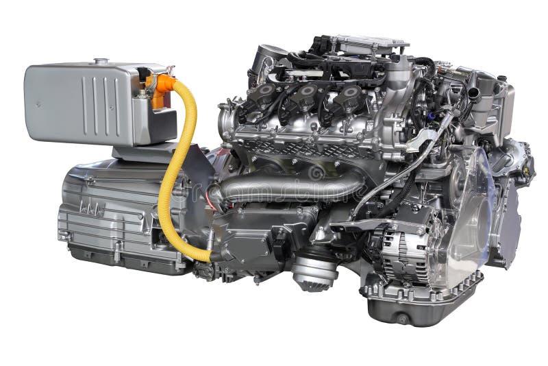Motore ibrido dell'automobile isolato fotografia stock